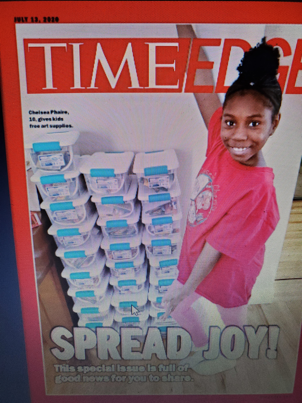 Screenshot of Times Kids cover with Chelsea Phaire